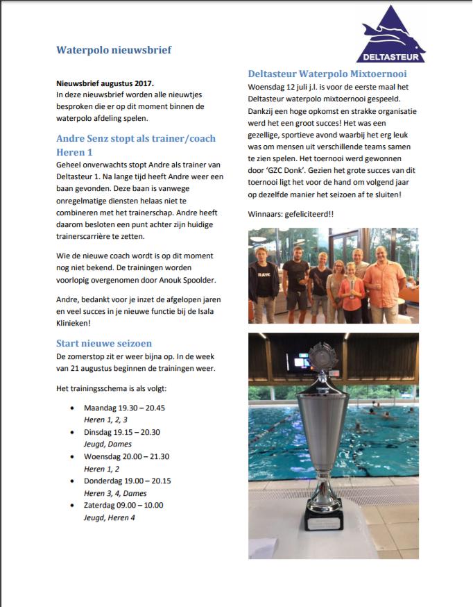 Waterpolo nieuwsbrief augustus 1-3
