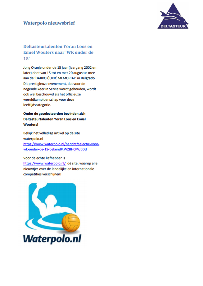 Waterpolo nieuwsbrief augustus 3-3